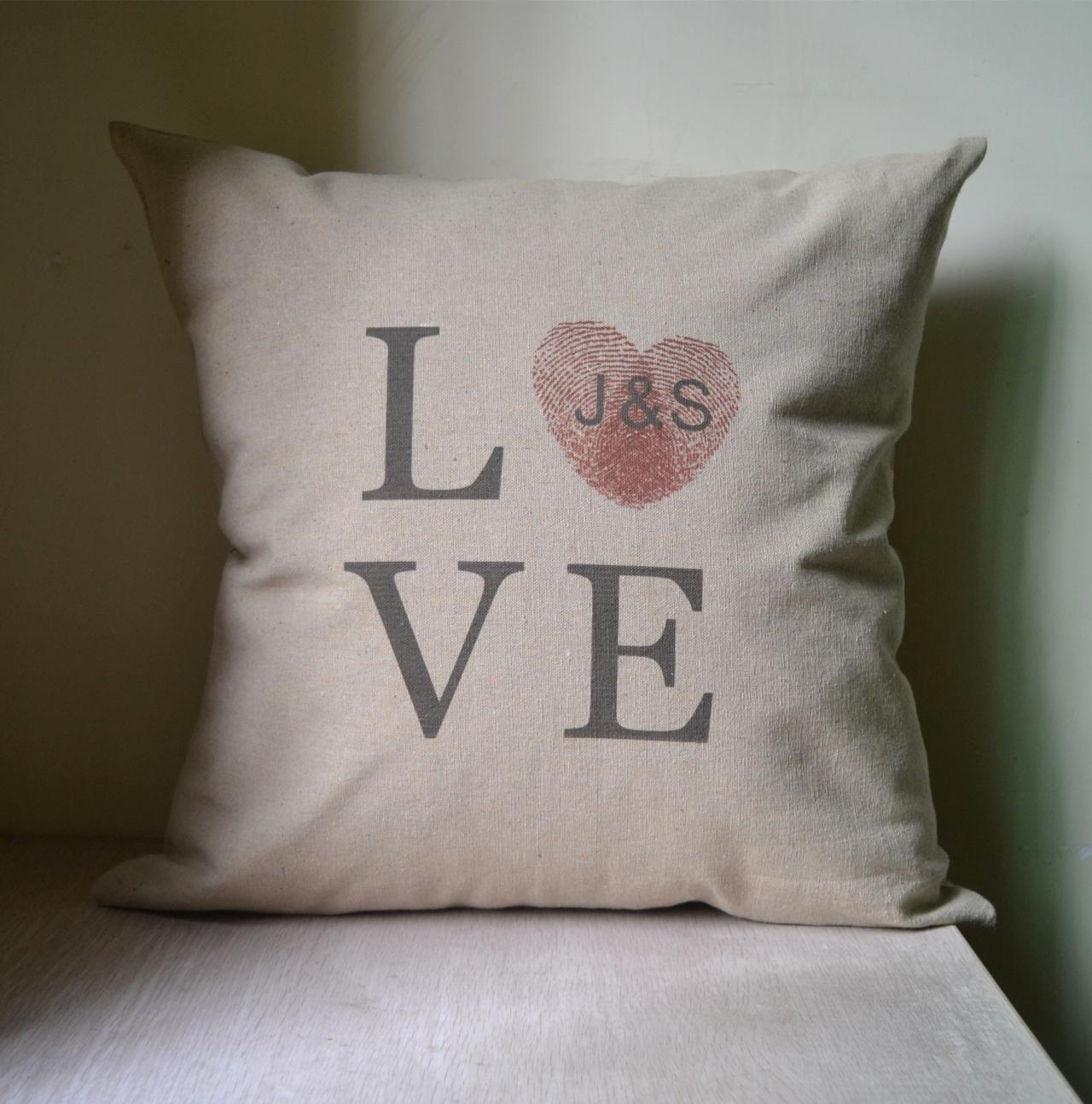 finger print,couple initial,Personalized pillow cover,cushion cover,monogrammed pillow,anniversary gift,bridal shower gift,wedding gift