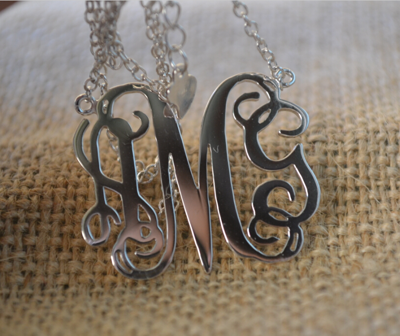 Personalized Monogram Necklace, 3 initial Monogram Sterling Silver,1.25 inch